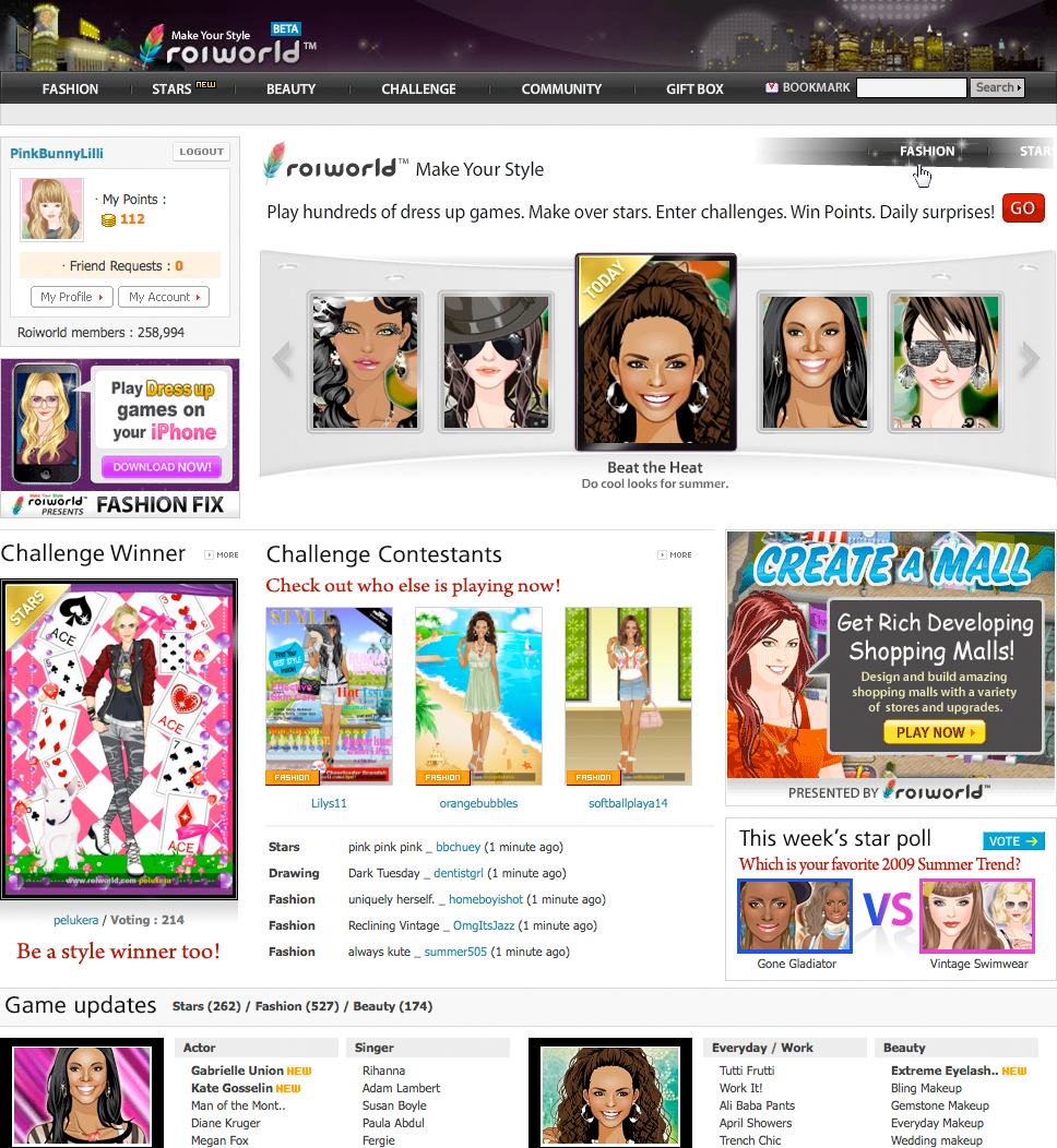 Roiworld fashion dress up games online
